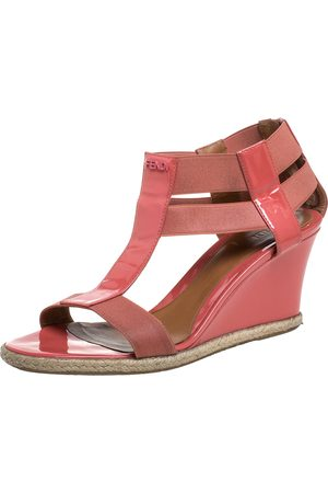 Fendi Pink Patent Leather And Elastic Fabric Carioca Wedge Espadrille Sandals Size 38