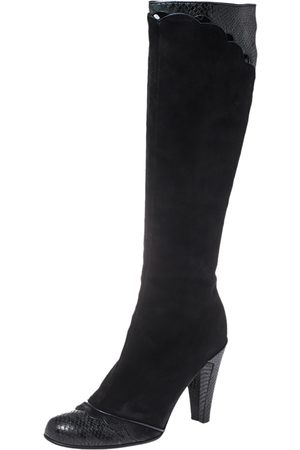 Marc Jacobs Black Python Embossed Leather and Suede Knee High Boots Size 39.5