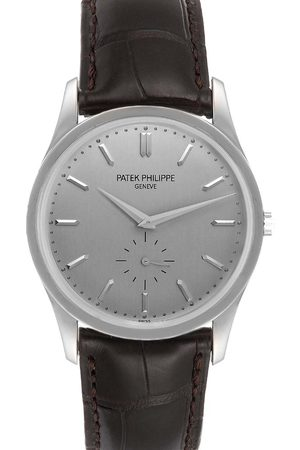 PATEK PHILIPPE Grey 18k White Gold Calatrava Mechanical 5196G Men's Wristwatch 37 MM