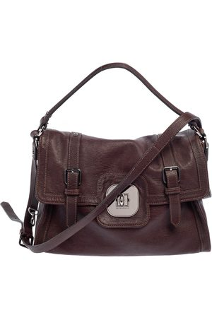 Longchamp Brown Lizard Embossed Leather Flap Shoulder Bag