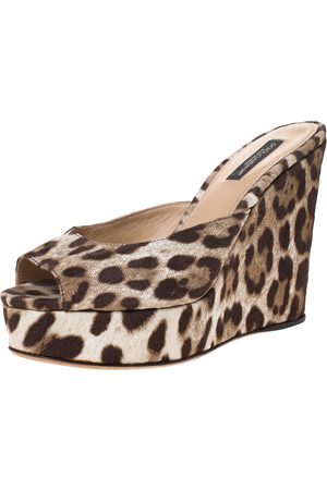 Dolce & Gabbana Leopard Print Canvas Wedge Platform Sandals Size 35