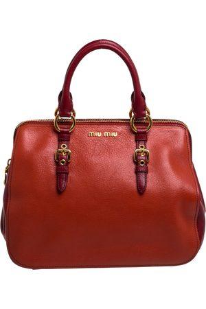 Miu Miu Orange/Red Madras Leather Zip Satchel