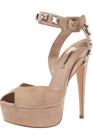 Miu Miu Beige Suede Crystal Ankle Straps Platform Sandals Size 38.5