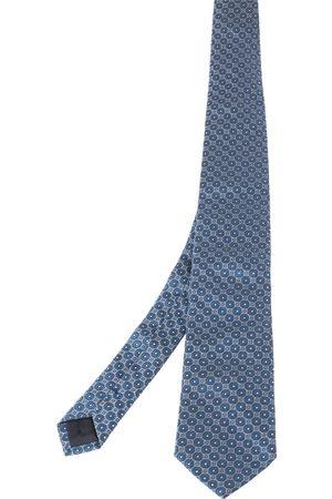 HUGO BOSS Blue Geometric Patterned Silk Tie