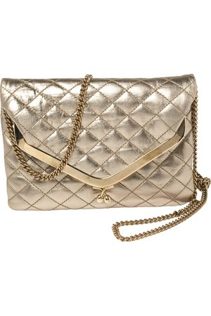 DandG D&G Metallic Gold Quilted Leather Kisslock Foldover Chain Clutch