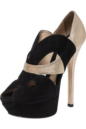 Fendi Black/Gold Lasercut Suede and Leather Peep Toe Platform Pumps Size 38