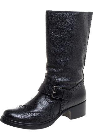 Miu Miu Black Brogue Leather Buckle Detail Mid Calf Boots Size 38.5