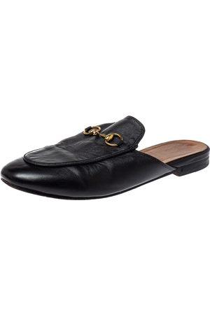 Gucci Black Leather Princetown Horsebit Mules Size 37