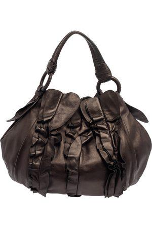 Prada Metallic Dark Brown Leather Ruffle Hobo