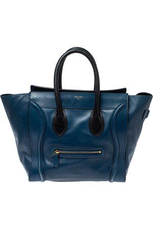 Céline Blue/Black Leather Mini Luggage Tote
