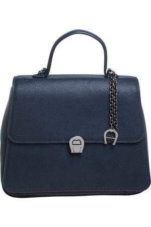 Aigner Navy Blue Leather Genevova Top Handle Bag