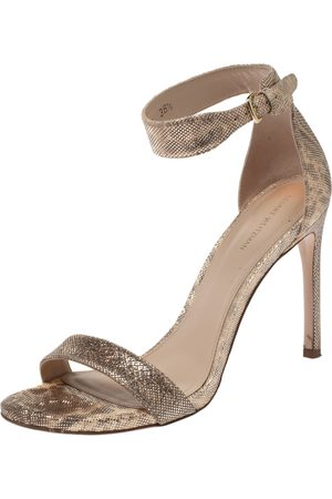 Stuart Weitzman Beige Shimmery Fabric Back Up Tiz Sandals Size 38.5