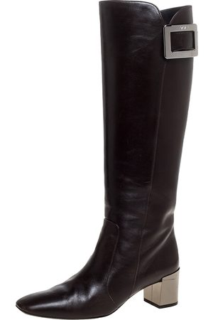 Roger Vivier Dark Brown Leather Buckle Detail Knee Length Boots Size 36.5