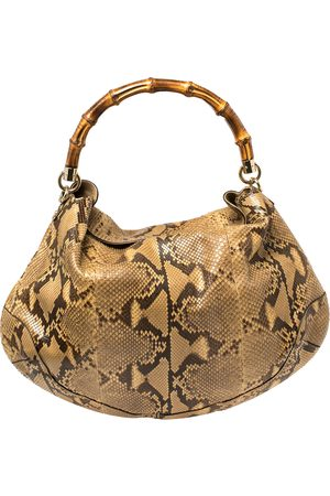 Gucci Brown Python Leather Peggy Bamboo Hobo