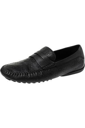 Gucci Black ssima Leather Penny Loafers Size 41
