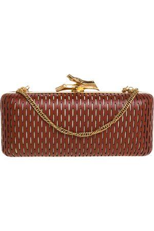 Diane von Furstenberg Copper Brown Perforated Leather Long Lytton Clutch