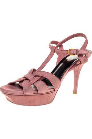 Saint Laurent Pink Suede Tribute Platform Sandals Size 39
