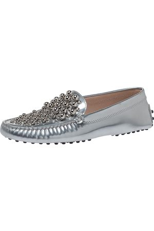 Tod's Silver Patent Leather Studded Loafers Size 38