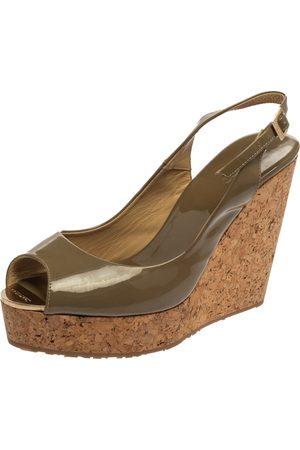 Jimmy Choo Olive Green Patent Leather Prova Slingback Platform Sandals Size 41