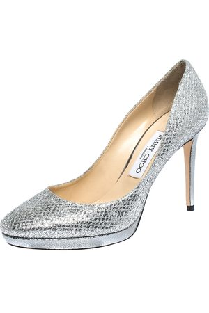 Jimmy Choo Silver Glitter Fabric And Lizard Embossed Leather Hope Platform Pumps Size 38.5