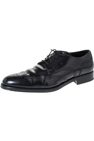 Tod's Black Brogue Leather Lace Up Derby Size 45.5