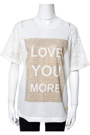 Elie saab White Jersey Love Crystal Embellished Top XS