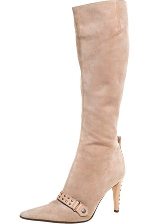 Sergio Rossi Beige Suede And Leather Studded Detail Knee Length Boots Size 35.5