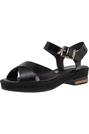 Fendi Black Lizard Embossed Leather Hydra Cross Strap Espadrille Platform Sandals Size 38.5