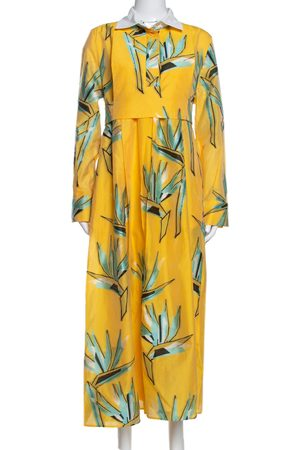 Fendi Yellow Silk Jacquard Birds of Paradise Flower Dress M