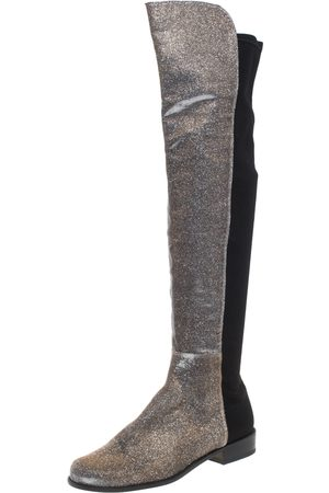 Stuart Weitzman Multicolor Lurex And Stretch Fabric Knee Length Boots Size 37.5