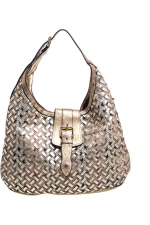 Burberry Gold/Beige Woven Haymarket Check PVC and Leather Brooke Hobo
