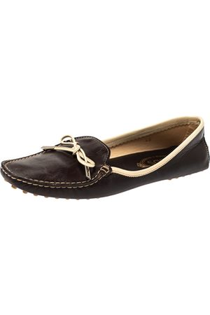 Tod's Brown Leather Square Toe Bow Loafers Size 40