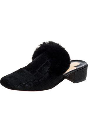 Christian Louboutin Black Croc Print Calfhair and Fur Boudiva Mules Size 36