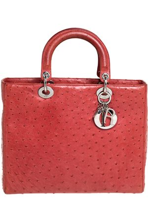 Dior Coral Dark Pink Ostrich Large Lady Tote