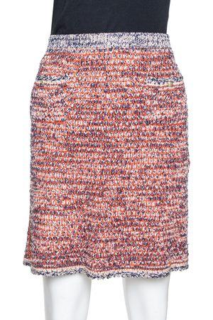 CHANEL Orange & Blue Boucle Knit A Line Skirt M