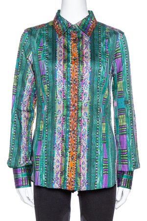 Etro Green Printed Stretch Cotton Long Sleeve Shirt L