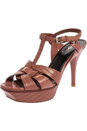 Saint Laurent Brown Lizard Embossed Leather Tribute Platform Sandals Size 38