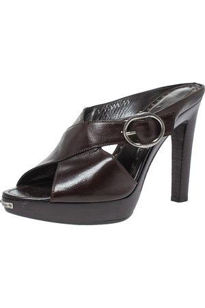 Saint Laurent Dark Brown Leather Cross Strap Buckle Platform Slide Sandals Size 39