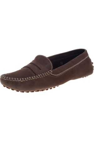 Tod's Brown Nubuck Penny Loafers Size 36