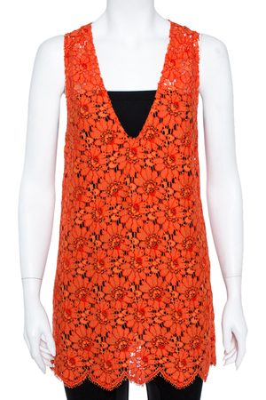 Gucci Orange Floral Corded Lace Scalloped Sleeveless Top M