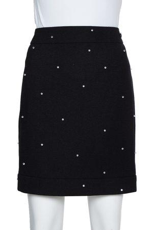 CHANEL Black Wool Beads Embellished Mini Skirt M