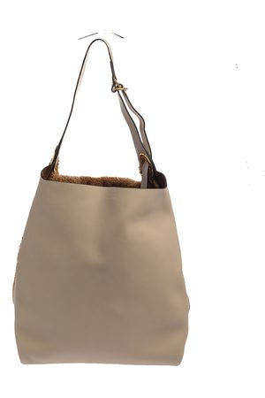 Burberry Beige/Brown Leather and Fabric Medium Grommet Hobo