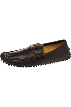 Gucci Brown Leather Slip On Loafers Size 41
