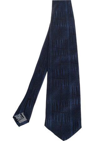 Gianfranco Ferré Navy Blue Embroidered Silk Tie