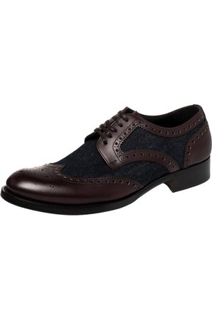 Dolce & Gabbana Blue/Burgundy Denim And Leather Wingtip Lace Up Oxfords Size 41