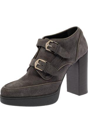 Tod's Grey Suede Leather Buckle Detail Block Heel Booties Size 39
