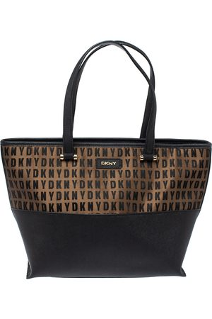 DKNY Black/Brown Leather And Signature Canvas Donna Karan Tote