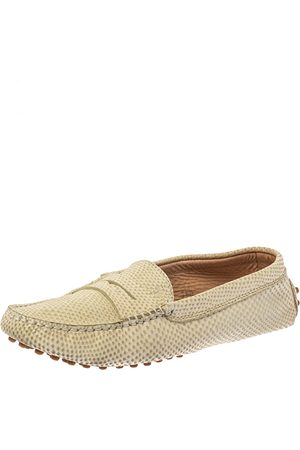 Tod's White Snake Embossed Leather Penny Loafers Size 36.5