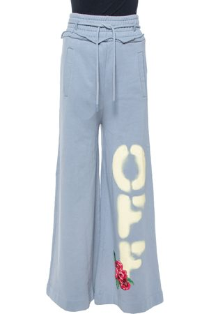 OFF-WHITE Dusty Blue Off Print Cotton Wide Leg Sweatpants XXS