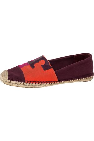 Tory Burch Tricolor Canvas Espadrille Slip On Loafers Size 40.5